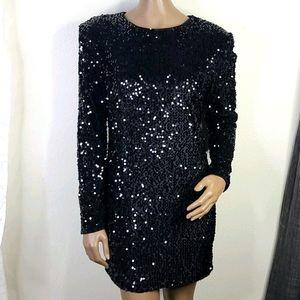 Forever 21 black mini dress large sequined